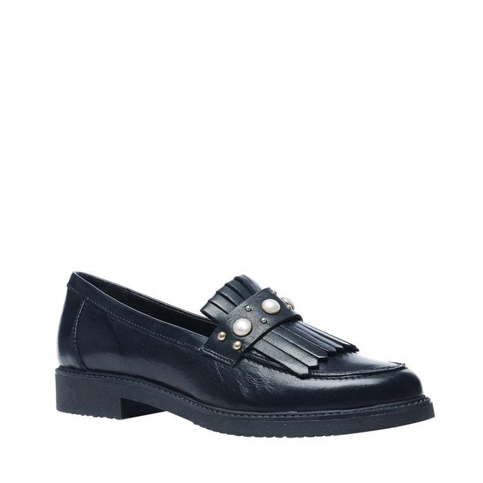 Loafers avec perles et franges noir Sacha
