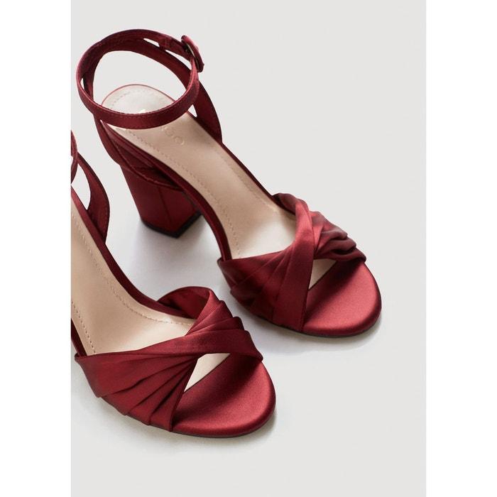 Sandales satinées à bride grenat Mango