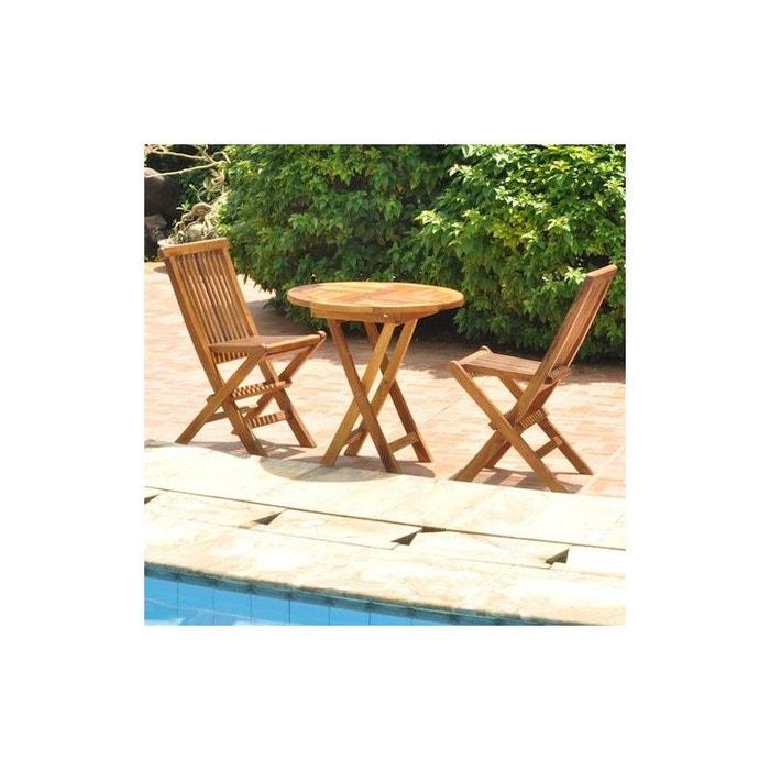 Salon de jardin en bois de teck pour enfant teck brut Bois Dessus ...