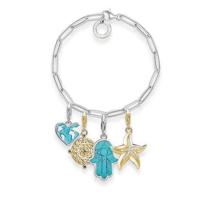 Charm bracelet c?ur, main de fatima, boussole, étoile de mer couleur or jaune, blanc, turquoise, argenté, bleu Thomas Sabo | La Redoute