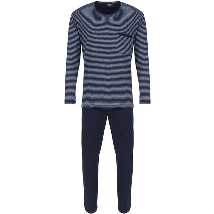 homme ensemble de pyjama en coton rayures bleu pastunette la redoute. Black Bedroom Furniture Sets. Home Design Ideas