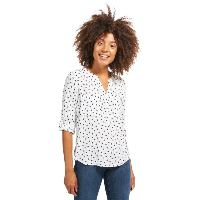Polka Dot Print Shirt Style Blouse