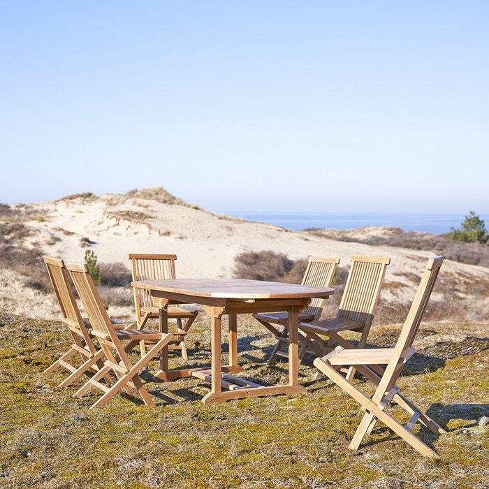 Salon de jardin en bois de teck 180 capri 6 chaises teck brut ...