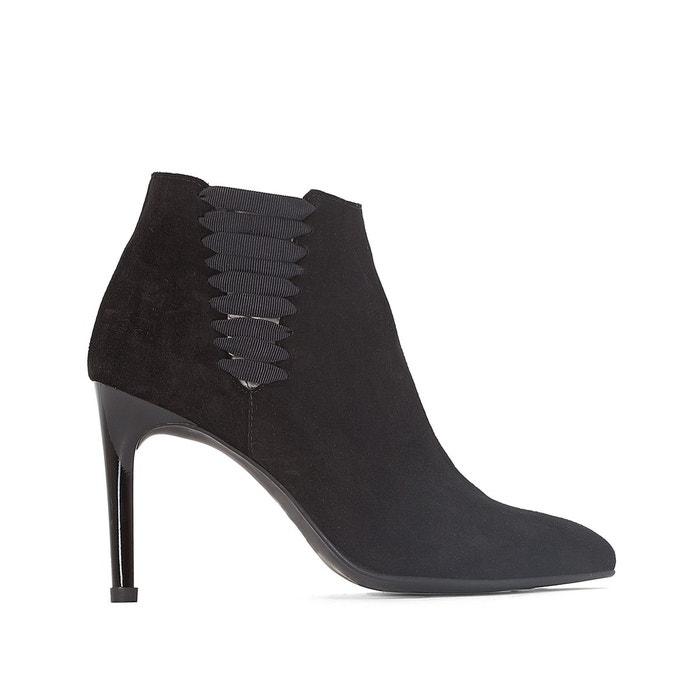 Boots cuir bout pointu détail élastique noir La Redoute Collections Acheter Pas Cher Parfait u1JQKcdsK3