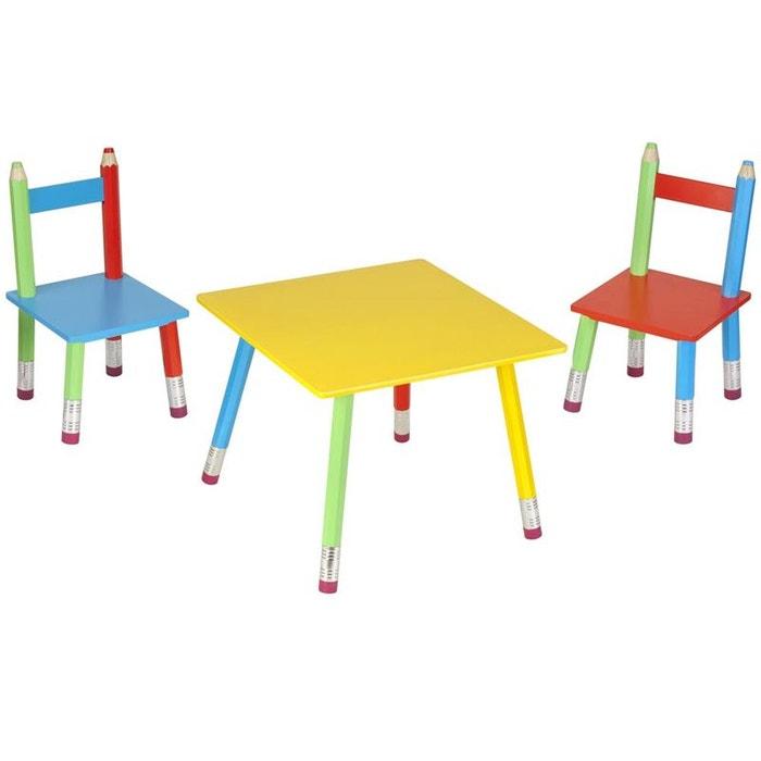 Table et chaises pour enfant crayons multicolore la chaise for Table et chaises pour enfants ikea