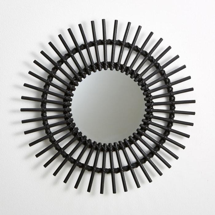espelho em rotim em forma de sol vintage nogu preto la. Black Bedroom Furniture Sets. Home Design Ideas