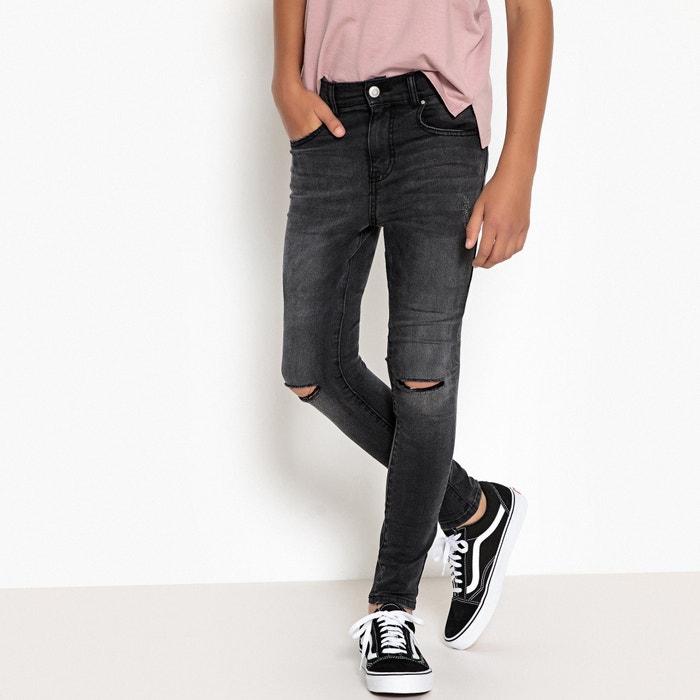 jean skinny trou genoux 10 16 ans noir la redoute collections la redoute. Black Bedroom Furniture Sets. Home Design Ideas