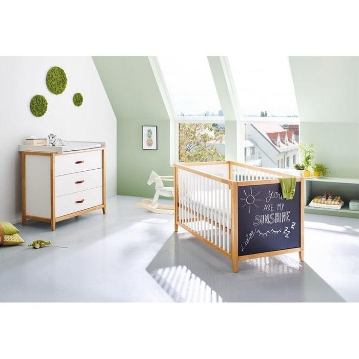 Chambre bébé Duo Calimero : Lit avec tableau noir et commode PINOLINO