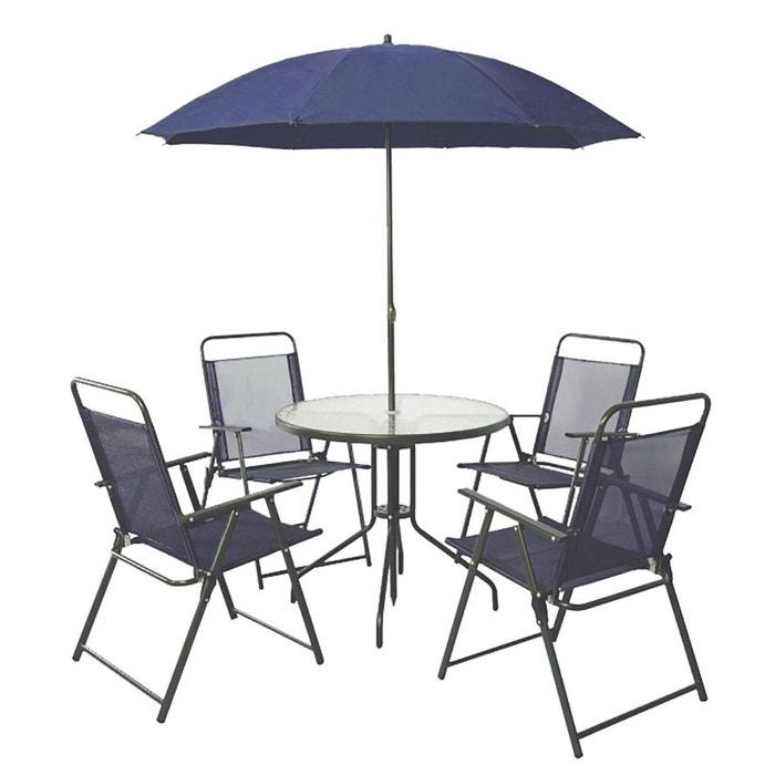 salon de jardin texas 4 places bleu fonc bleu fonc. Black Bedroom Furniture Sets. Home Design Ideas