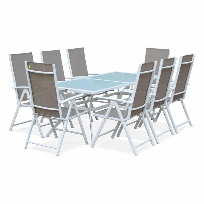 Salon de jardin en aluminium table 8 places textilène fauteuil