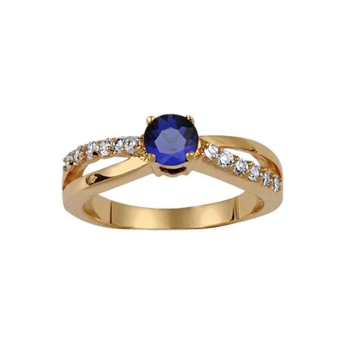 Bague femme anneau alliance croisée solitaire 4 mm oxyde de zirconium bleu & blanc plaqué or 750 couleur unique So Chic Bijoux | La Redoute Paiement Visa Rabais W2GWqH