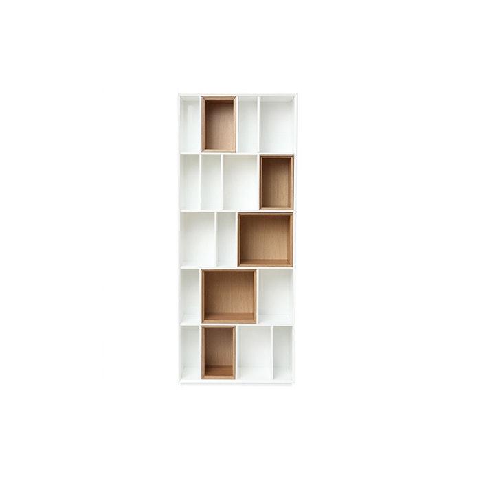 Bibliothèque design modulable blanc et chêne jazz bois clair   blanc  Miliboo   La Redoute 4404cbfd40ad