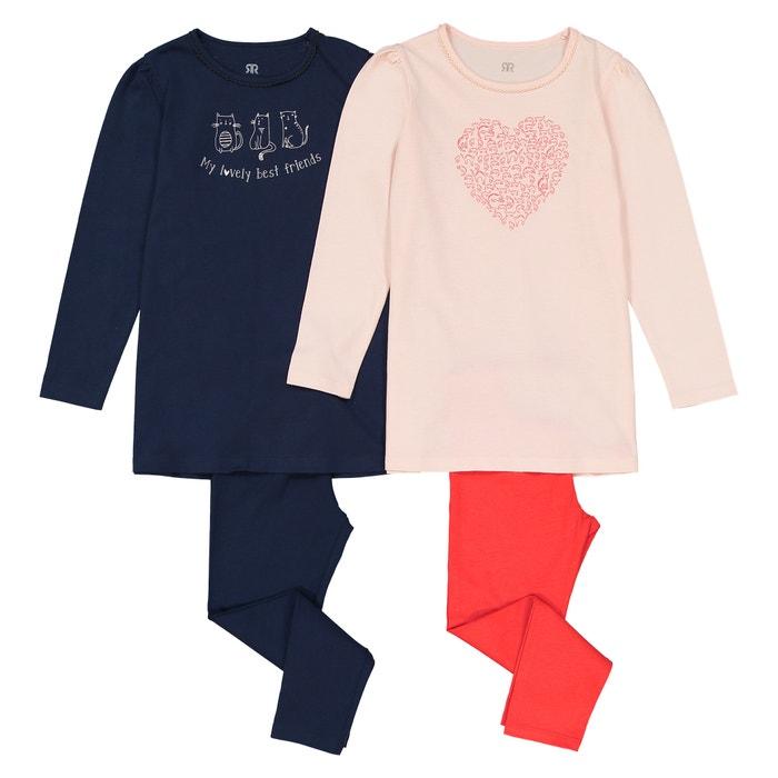 Lot de 2 pyjamas, thème chat, 3-12 ans  La Redoute Collections image 0