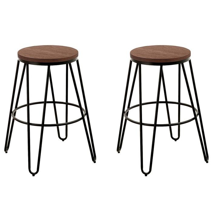 tabouret de bar industry lot de 2 noir rendez vous deco. Black Bedroom Furniture Sets. Home Design Ideas