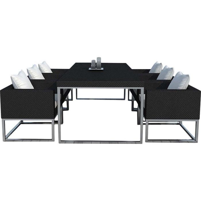 Salon de jardin design 1 table + 6 fauteuils multicolore Delorm | La ...