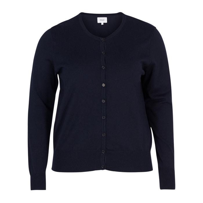 Long-Sleeved Buttoned Round Neck Cardigan  ZIZZI image 0