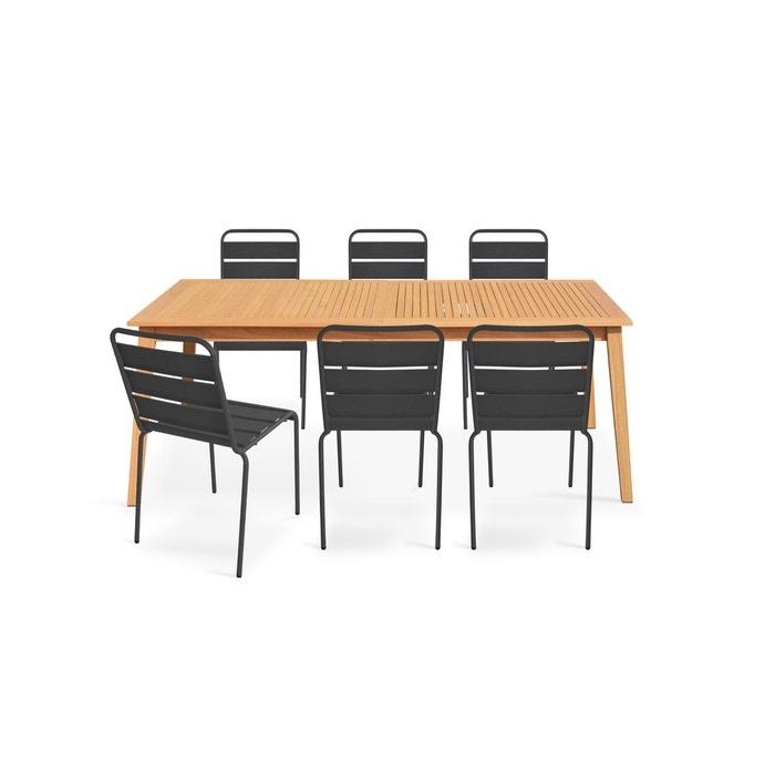Table de jardin en bois et 6 chaises métal