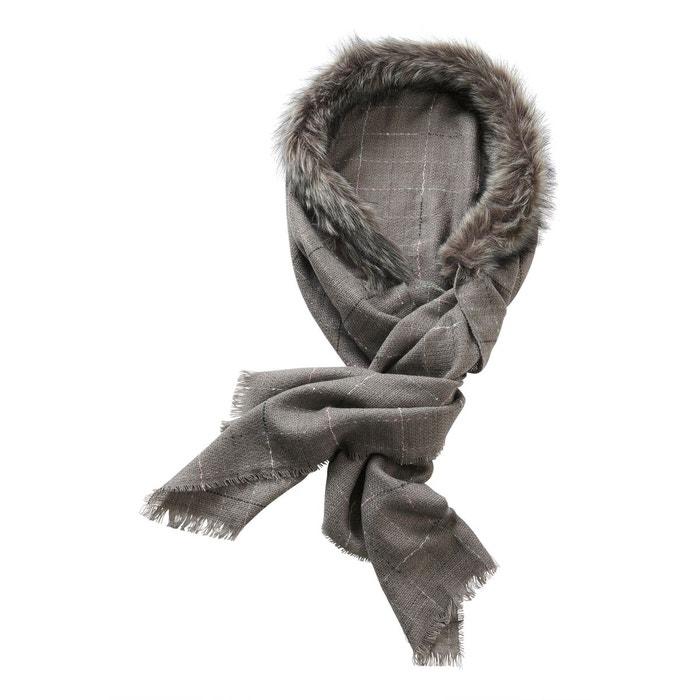 Écharpe d hiver à col en fourrure synthétique gris gris - gris ... 96859bbd869