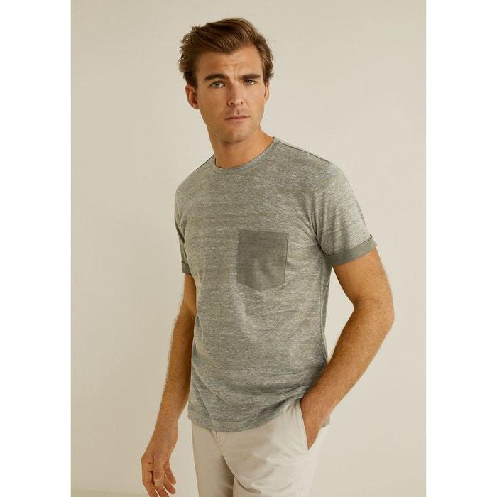 7a0b27e43aef6 T-shirt jaspé coton kaki Mango Man   La Redoute