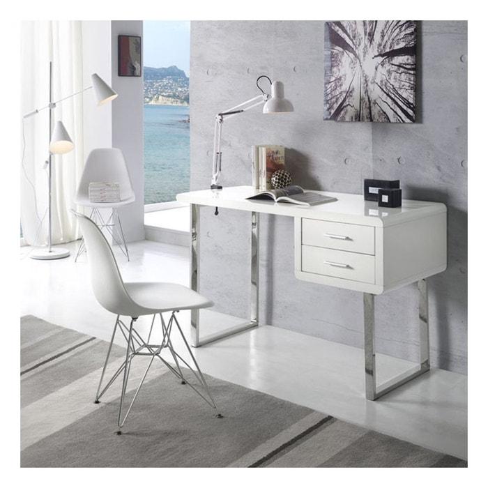 bureau moderne et design maja blanc chrome zendart. Black Bedroom Furniture Sets. Home Design Ideas