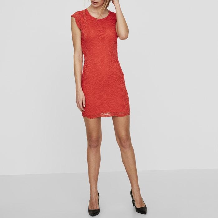 Short-Sleeved Lace V-Back Dress  VERO MODA image 0
