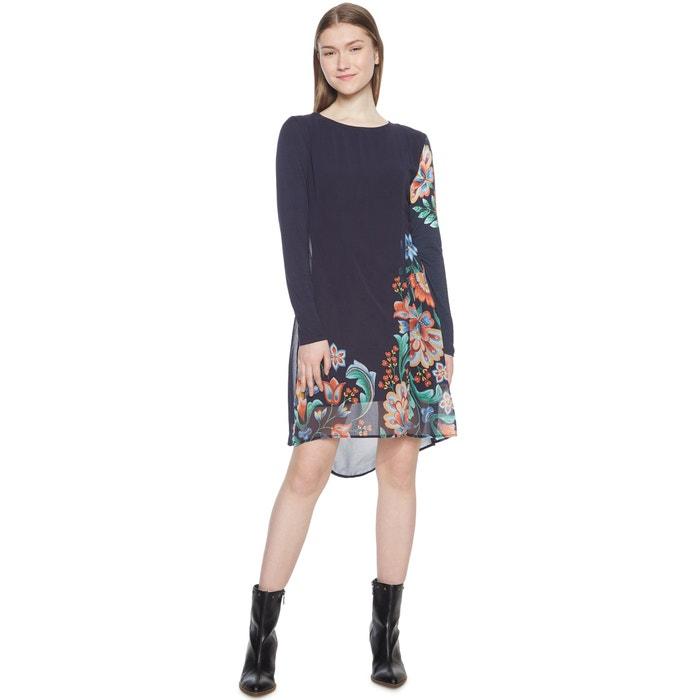 Vestido de punto con gasa y estampado de flores  DESIGUAL image 0