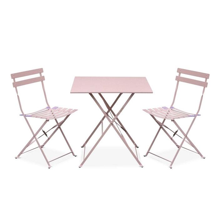 Salon de jardin bistrot pliable emilia carré rose pale, avec deux ...