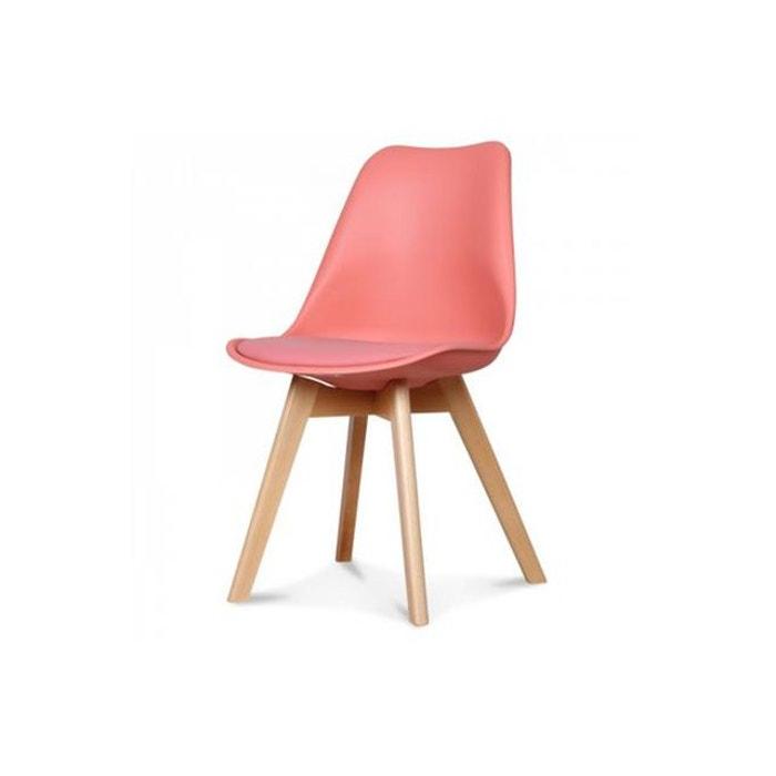 chaise scandinave plastique rouge salle a manger