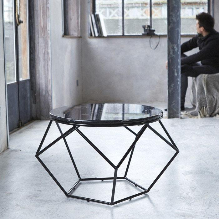table basse ronde metal noir et marbre table de salon mobilier graphique s jour couleur unique. Black Bedroom Furniture Sets. Home Design Ideas
