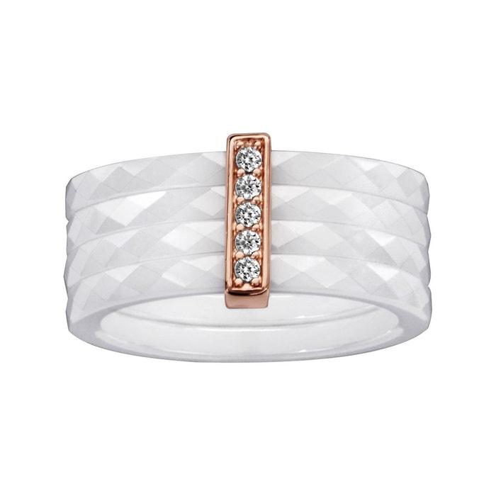 Bague 4 anneaux céramique blanche facettes barrette oxyde de zirconium rose serti blanc plaqué or 750 couleur unique So Chic Bijoux | La Redoute Manchester Grande Vente En Ligne mKhPdW