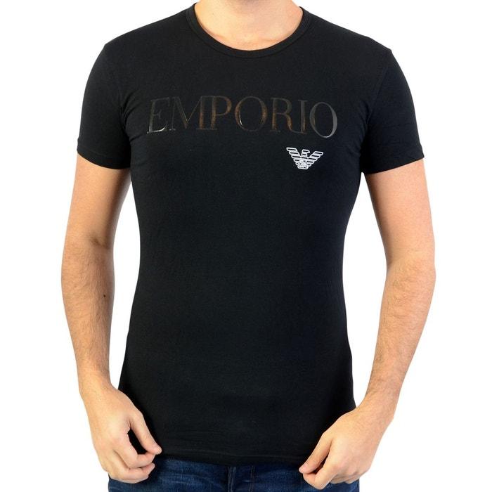 Tee-shirt col rond en coton stretch floqué noir Emporio Armani   La Redoute bebfd650a34