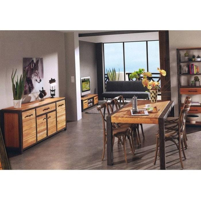 Buffet Chene Metal 3 Portes 2 Tiroirs 150x50x80 Ferscott Bois Et