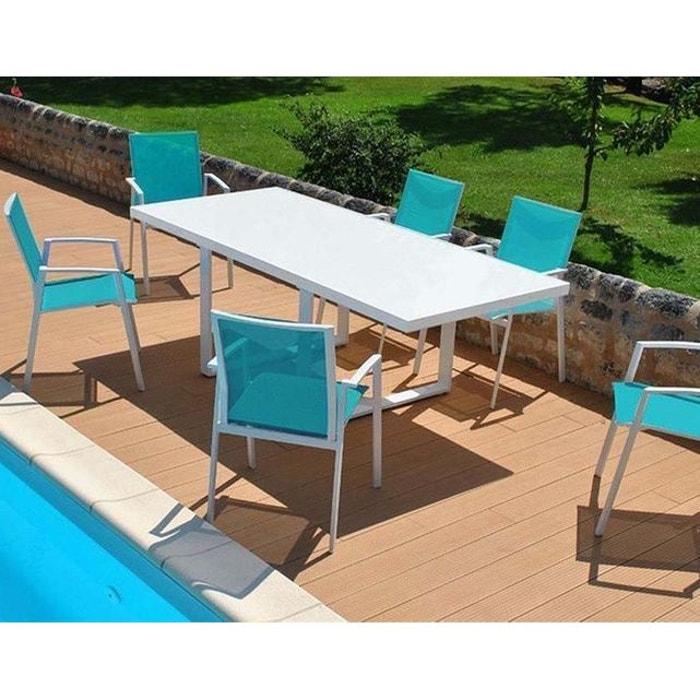 Proloisirs - salon de jardin moderne bleu 6 personnes cyclades ...
