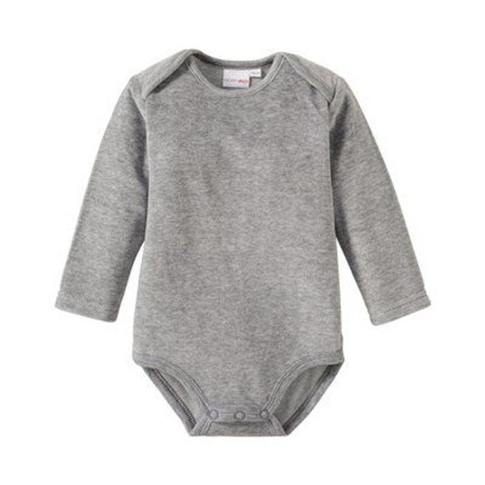 Bornino body à manches longues en velours ras bébé gris chiné Bornino  b60f19564e9