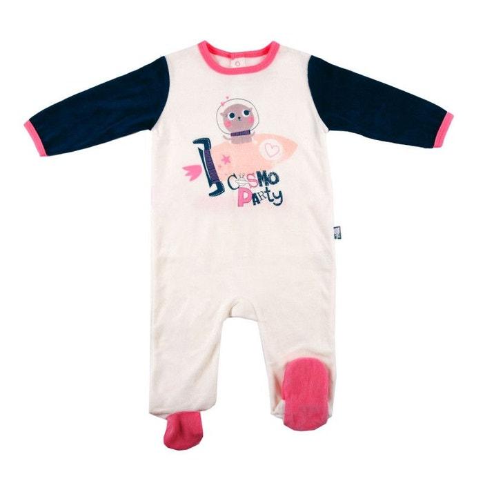 81c278114a1e0 Pyjama bébé velours ivoire cosmo party ecru Petit Beguin
