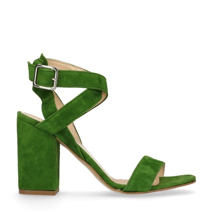 Sandales à talon cubain en daim vert Sacha Arriver À Acheter Prix Pas Cher Acheter En Ligne Authentique ObAECF2bC0