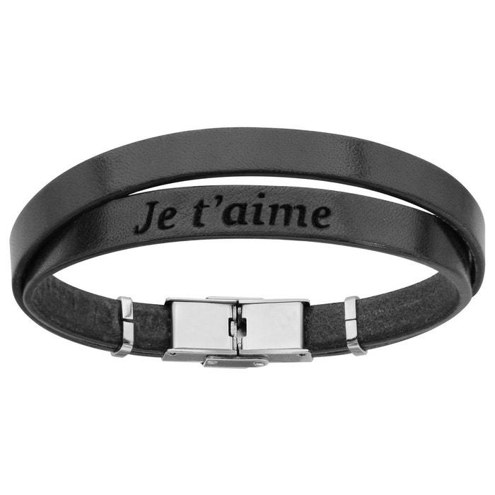 Bracelet homme 20 cm longueur réglable cuir noir double