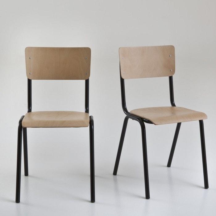 Chaises empilables style écolier, Hiba (lot de 2)