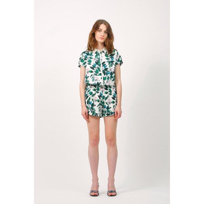 avant-garde de l'époque couleur attrayante sélection mondiale de Combi short combinaison chic et habillée imprimé floral ceinture élastique