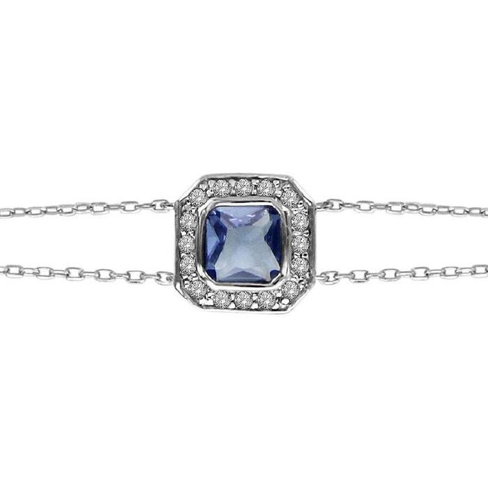Bracelet longueur réglable: 16 à 19,5 cm oxyde de zirconium bleu & blanc argent 925 couleur unique So Chic Bijoux   La Redoute