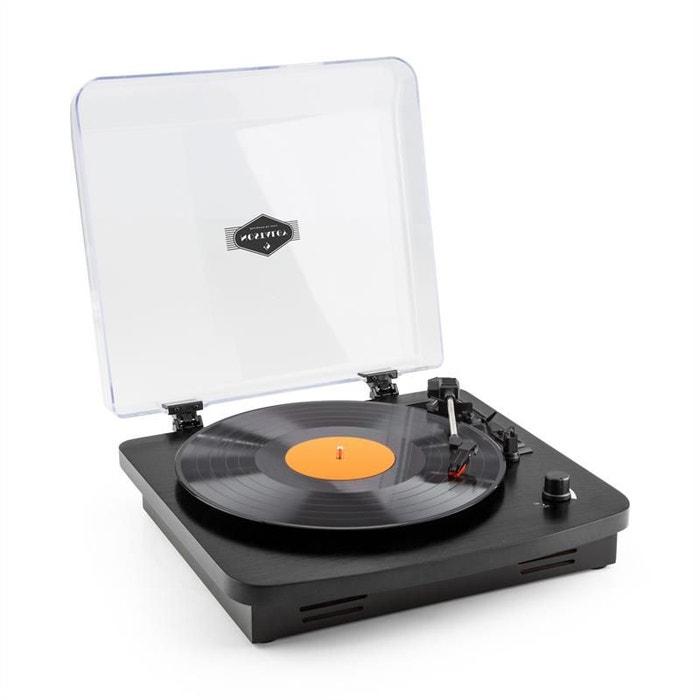 auna tt370 tourne disque platine vinyle r tro haut parleurs int gr s usb mp3 aux noir noir. Black Bedroom Furniture Sets. Home Design Ideas