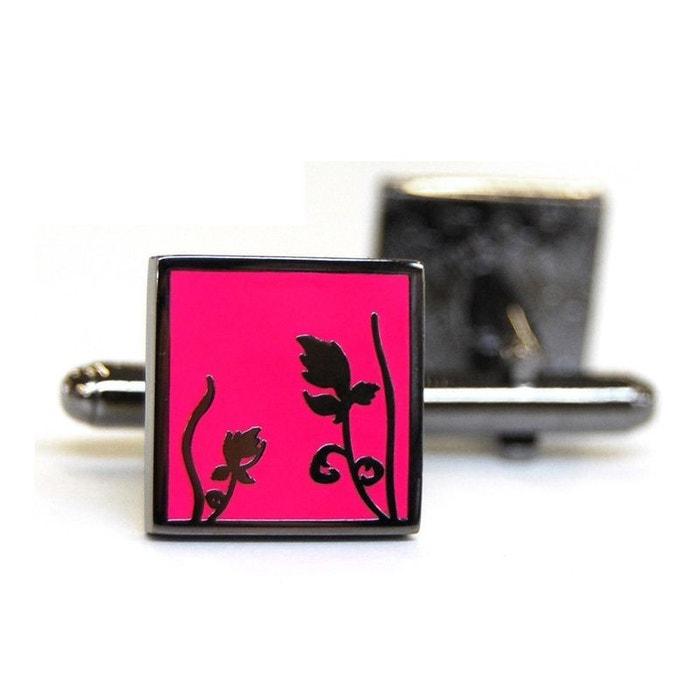 Bouton de manchette tyler & tyler, spring black metal, bright pink rose Tyler Et Tyler   La Redoute