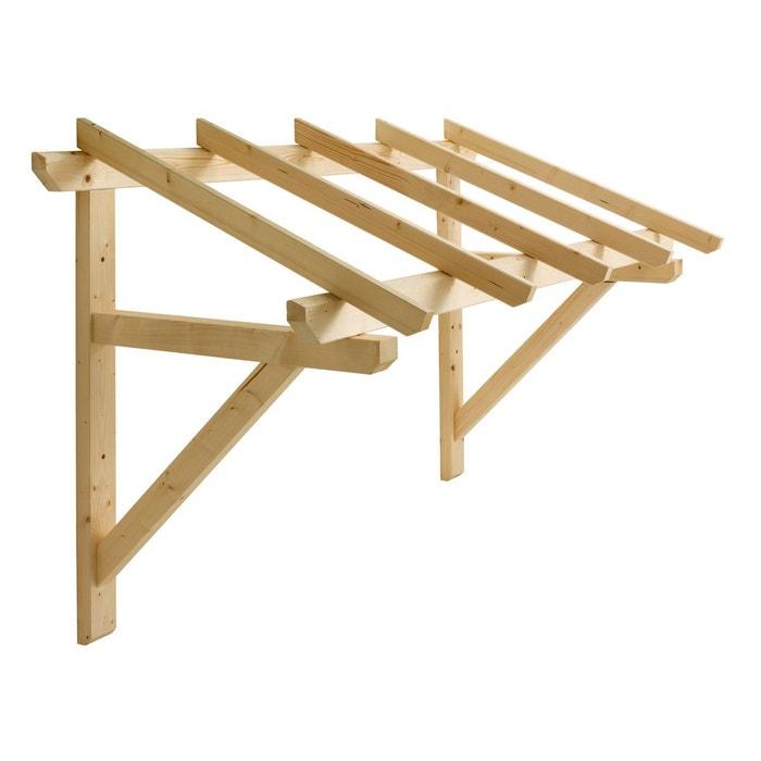 Auvent en bois pour porte d 39 entr e naturel jardipolys la - Fixation porte d entree ...