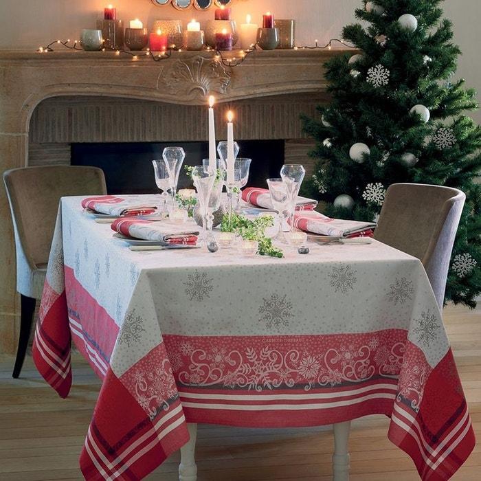 nappe snowflakes rouge beige rouge garnier thiebaut la redoute. Black Bedroom Furniture Sets. Home Design Ideas