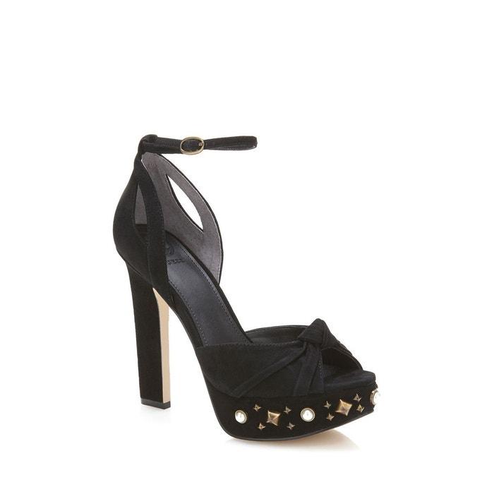 Sandale kenzie cuir details bijou noir Guess