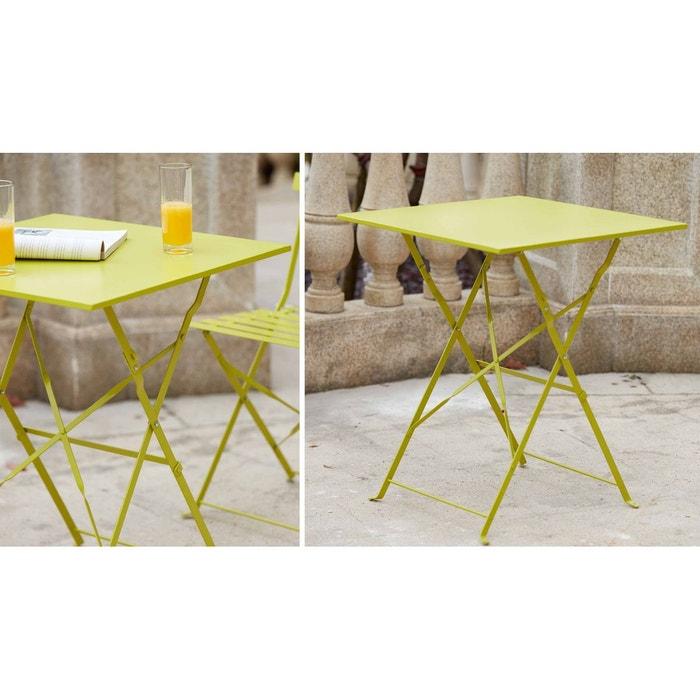 Table bistrot de jardin et 2 chaises pliantes boutique for Table de jardin la redoute