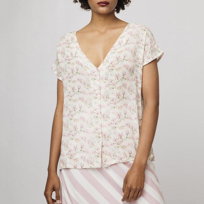 6c5f402caf4 Блузка свободного покроя с цветочным рисунком и короткими рукавами экрю   розовый Compania Fantastica