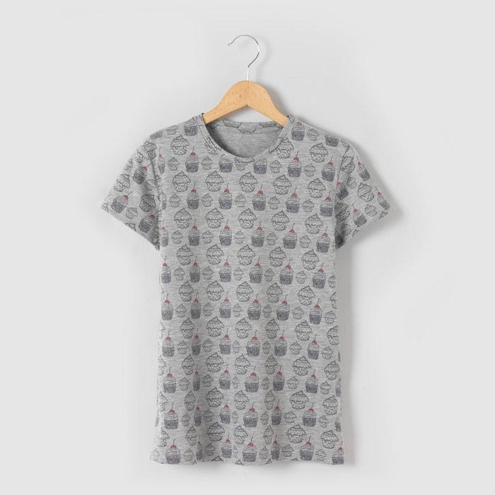afbeelding T-shirt bedrukt met cupcakes 10-16 jr La Redoute Collections