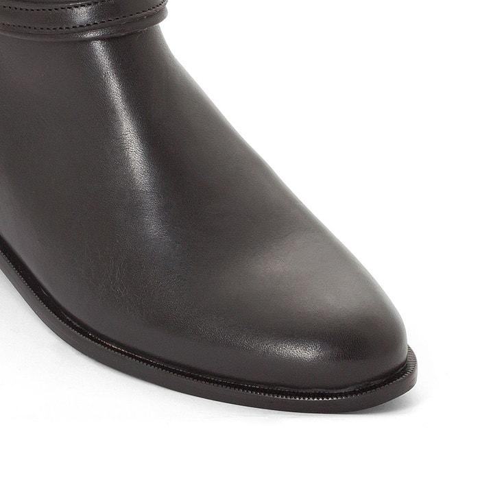Boots cuir brides à boucle noir La Redoute Collections