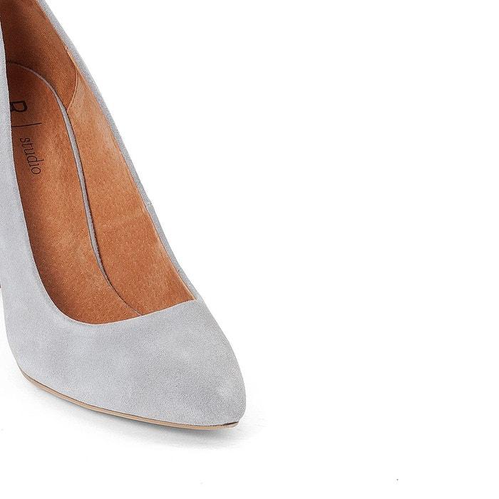 Escarpins cuir talon fantaisie gris La Redoute Collections